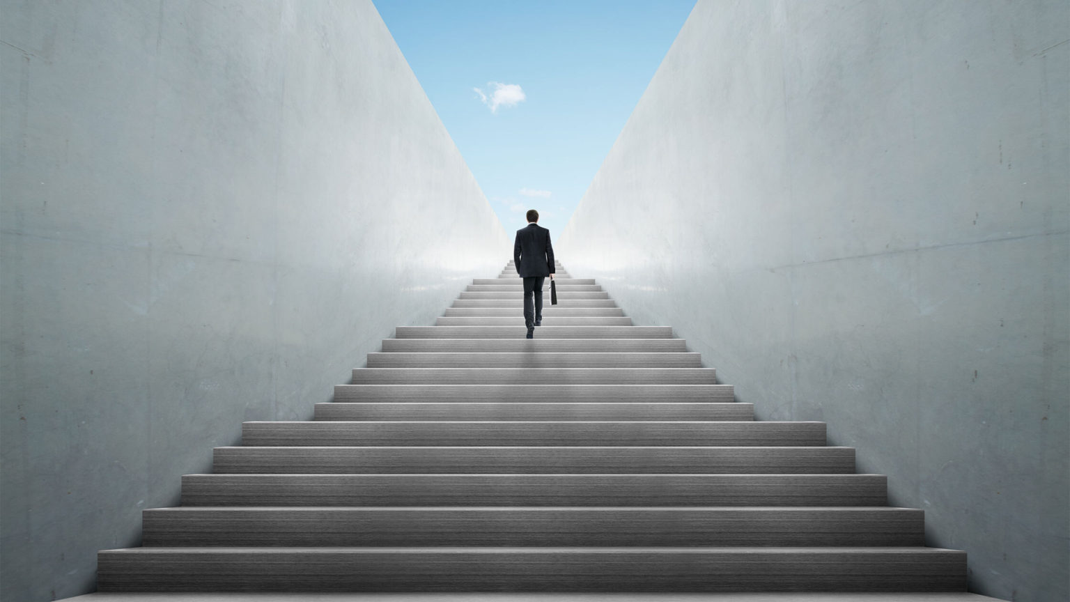 one person walking on stairs